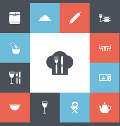 Set of 13 editable kitchen icons includes symbols vector