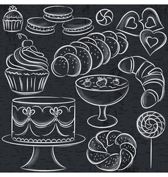 Set of different sweetmeats on blackboard vector