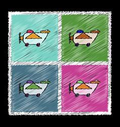 set of flat shading style icons retro plane toy vector image vector image