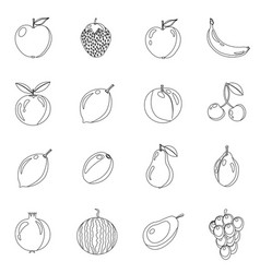 set of fruits in different style line black vector image