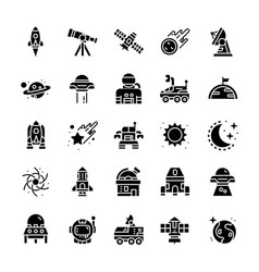 Set of space icons with glyph style vector