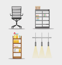 Set office flat accessory to work vector