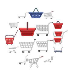 Shopping cart icons set cartoon style vector