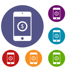 smartphone with dollar sign on display icons set vector image