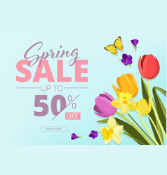 spring sale advertizing background banner with vector image