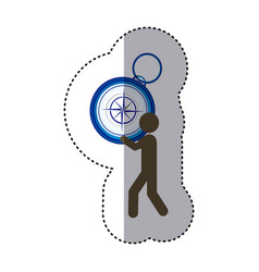 Sticker colorful worker holding up compass hand vector