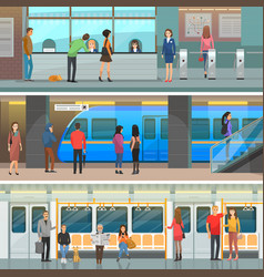 Subway wagon modern station and entrance set vector