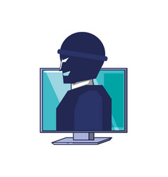 thief man in monitor computer vector image