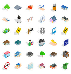 town park icons set isometric style vector image