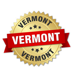 Vermont round golden badge with red ribbon vector