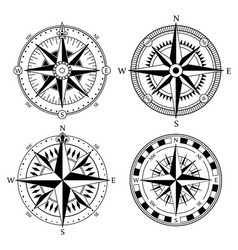 vintage nautical compass signs set retro vector image