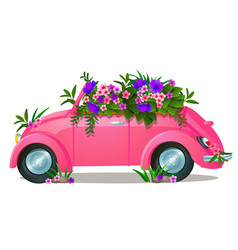 vintage pink car with growing flowers isolated on vector image