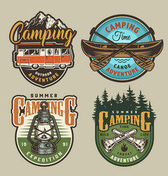 vintage summer recreation colorful logos vector image