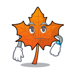 Waiting red maple leaf mascot cartoon vector