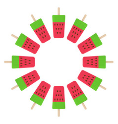 Watermelon ice cream circle vector