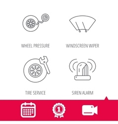 Wheel pressure tire service and siren alarm vector