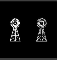 Wind turbine windmill classic american icon set vector