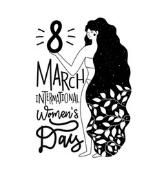 with long black hair woman and 8 march greeting vector image
