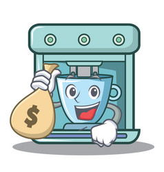 With money bag coffee maker character cartoon vector
