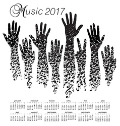 A creative 2017 musical calendar made with hands vector image vector image