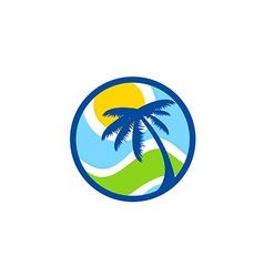 abstract beach palm tree tropic logo vector image