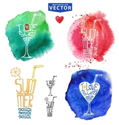 Abstract wtercolor Summer typography glass vector image