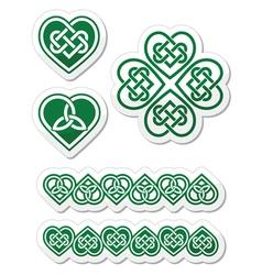 Celtic green heart knot - symbols set vector image