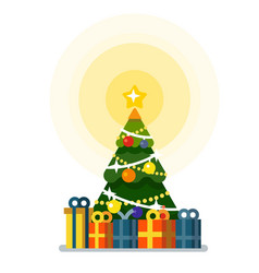 christmas tree with lots of gift boxes vector image