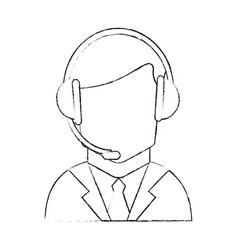 Faceless man wearing headset icon image vector