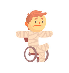 injured boy character in gypsum sitting in a vector image vector image