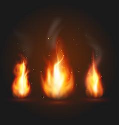 set of three fire vector image