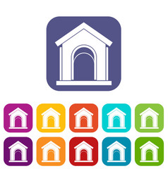 toy house icons set vector image