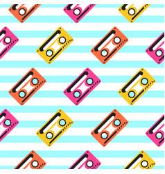 vintage pop art music tape striped seamless vector image