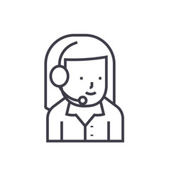 woman support with headset line icon sign vector image