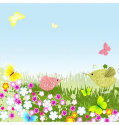 birds on the lawn vector image