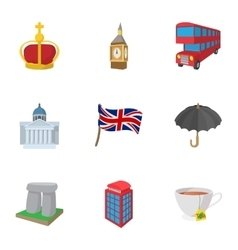 Country United Kingdom icons set cartoon style vector image