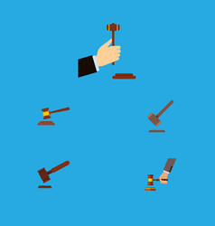 Flat icon court set of tribunal hammer law and vector