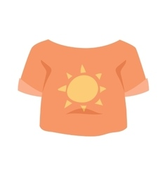Graphic girls T-shirt design icon with sun vector image vector image