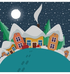 New Year and Christmas landscape at night in style vector image