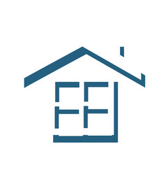 silhouette roof and window house elements icon vector image vector image
