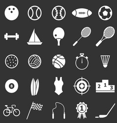 Sport icons on black background vector image