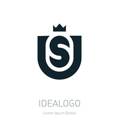 US initial logo with crown US initial monogram vector image vector image