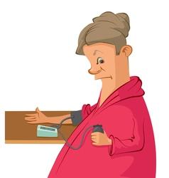 woman measures her blood pressure vector image