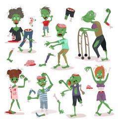 zombie scary cartoon people character halloween vector image
