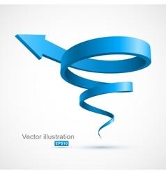 Blue spiral arrow 3D vector image vector image
