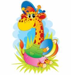 giraffe with ball vector image vector image