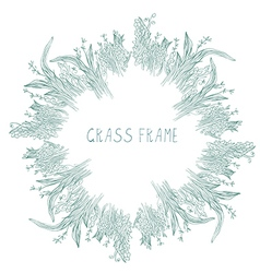 Grass frame with herbs and leaves vector image vector image