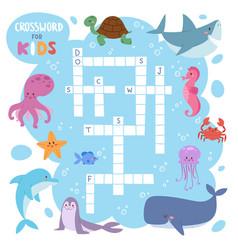 Kids magazine book puzzle game of sea underwater vector