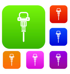 Pneumatic hammer set color collection vector