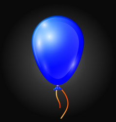 Realistic blue balloon with ribbon isolated vector